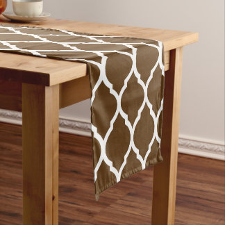Chocolate Brown Moroccan Quatrefoil Short Table Runner