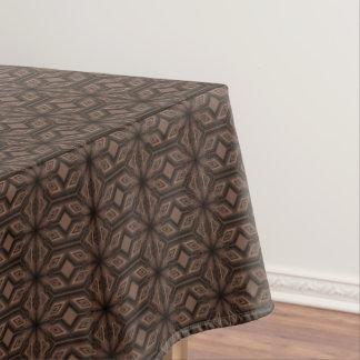 Chocolate Brown Mosaic Cotton Tablecloth