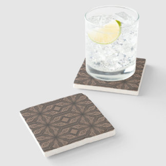 Chocolate Brown Mosaic Marble Stone Coaster