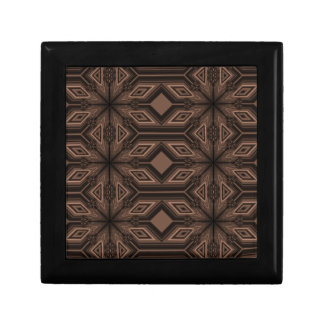 Chocolate Brown Mosaic Wood Gift Box w/ Tile