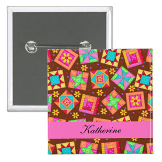 Chocolate Brown Patchwork Quilt Blocks Name Badge