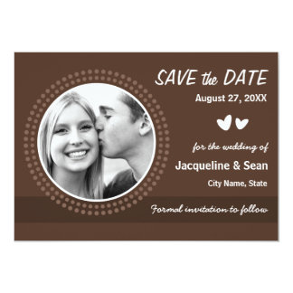Chocolate brown photo save the date announcement