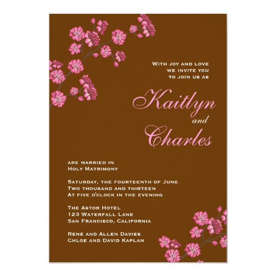 Chocolate Brown Pink Flowers Vintage Wedding Card