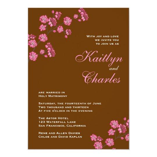 Chocolate Brown Pink Flowers Vintage Wedding Card