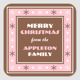 Chocolate Brown & Pink Holiday Envelope Seals Square Sticker
