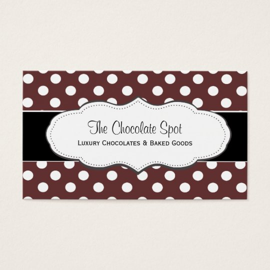 Chocolate Brown Polka Dot Business Cards