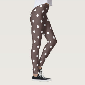 Chocolate Brown Polka Dots Leggings