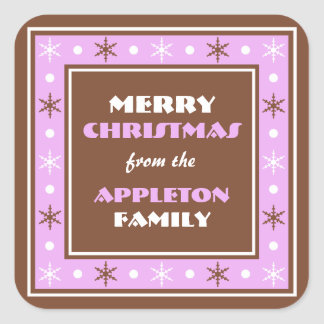 Chocolate Brown & Purple Holiday Envelope Seals Square Sticker