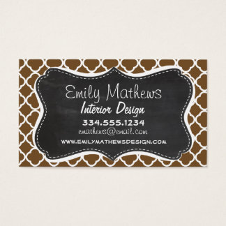 Chocolate Brown Quatrefoil; Vintage Chalkboard