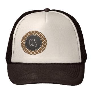 Chocolate Brown Quatrefoil Vintage Chalkboard Mesh Hats