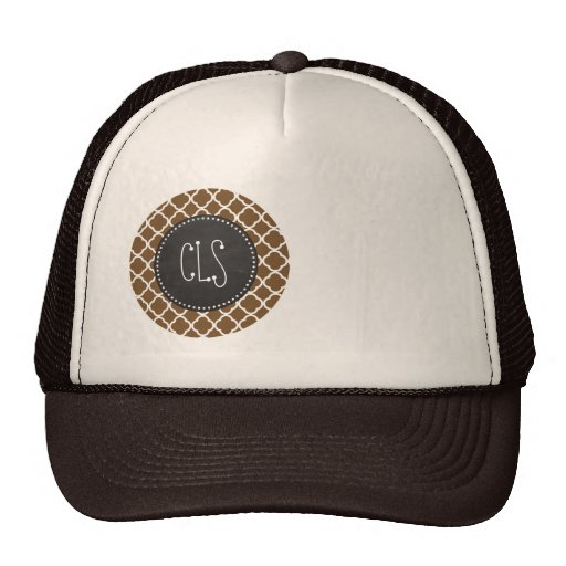 Chocolate Brown Quatrefoil; Vintage Chalkboard Mesh Hats