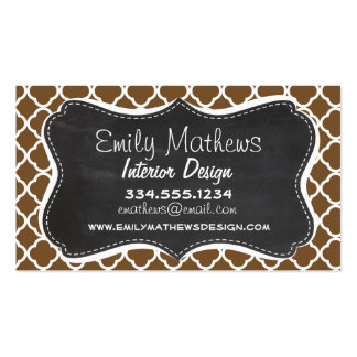 Chocolate Brown Quatrefoil; Vintage Chalkboard Pack Of Standard Business Cards