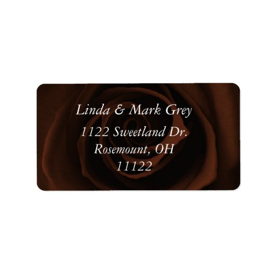 Chocolate Brown Rose Address Label