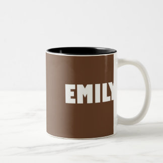 Chocolate brown shade Emily name Two-Tone Coffee Mug