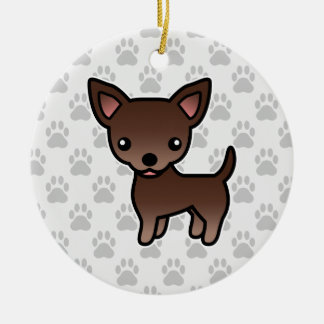 Chocolate Brown Smooth Coat Chihuahua Cartoon Dog Christmas Ornament