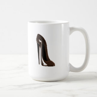 Chocolate brown stiletto shoe basic white mug
