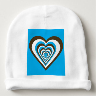 Chocolate Brown, White and Turquoise Hearts Baby Beanie