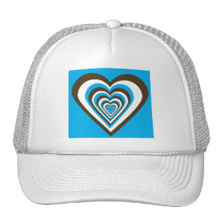 Chocolate Brown White and Turquoise Hearts Hat