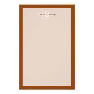 Chocolate Brown White Framed Initial Monogram Customised Stationery
