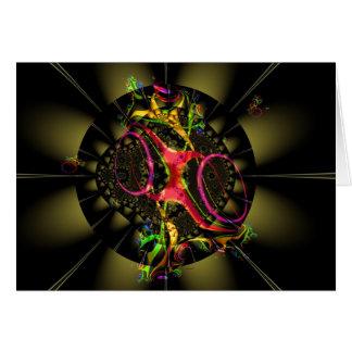 Chocolate Brown with Rainbow Fractal Art Design Card