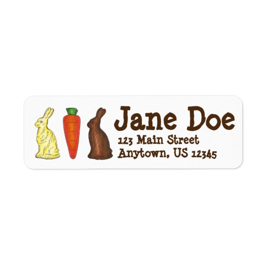 Chocolate Bunny Rabbit Carrot Easter Candy Labels