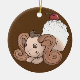 Chocolate Bunny Round Ceramic Decoration