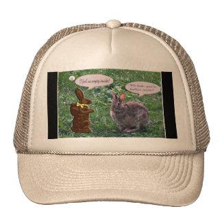 Chocolate Bunny talking to a real bunny rabbit Cap