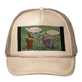 Chocolate Bunny talking to a real bunny rabbit Trucker Hats