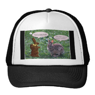 Chocolate Bunny talking to a real bunny rabbit Hats