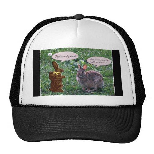 Chocolate Bunny talking to a real bunny rabbit Hats