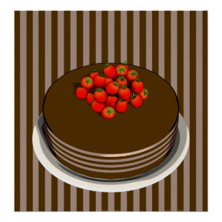 Chocolate Cake and Strawberries POSTER