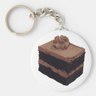 Chocolate Cake Basic Round Button Key Ring