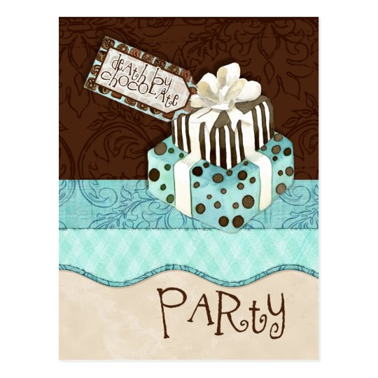 Chocolate Cake Birthday Party Invitation Postcard