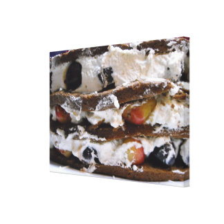 Chocolate Cake, Cherries, Whipped Cream Canvas Art Stretched Canvas Prints
