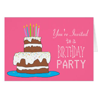 Chocolate Cake Girls Birthday Party Card