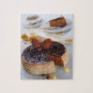 Chocolate cake on plate, close-up jigsaw puzzle