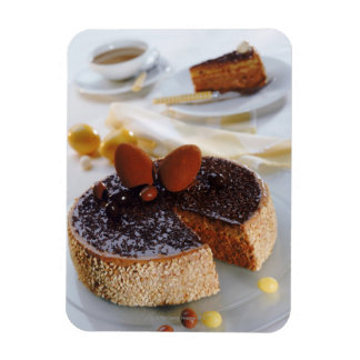 Chocolate cake on plate, close-up rectangular photo magnet