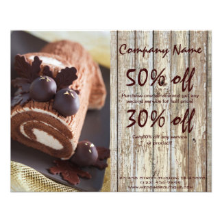 chocolate cake rustic country bakery business 11.5 cm x 14 cm flyer