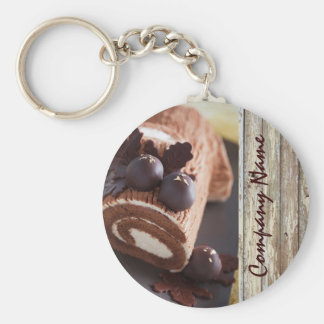 chocolate cake rustic country bakery business keychains