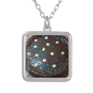 Chocolate cake silver plated necklace