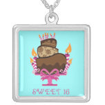 Chocolate Cake Sweet 16 Necklace