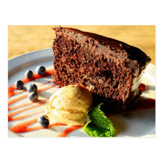 Chocolate cake with caramel ice cream postcard