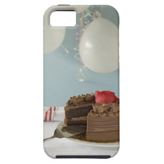 Chocolate cake with missing slice on table, iPhone 5 cases