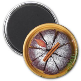 Chocolate Cake with Powdered Sugar Magnet