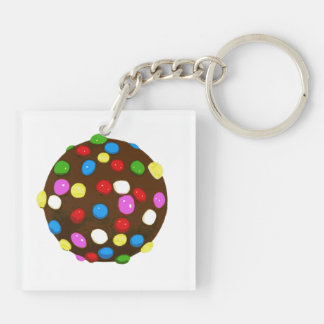 Chocolate Candy Color Ball Double-Sided Square Acrylic Key Ring