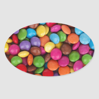 Chocolate candy rainbow color oval sticker