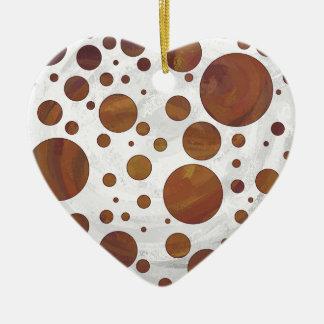 Chocolate Carmel Swirl Polka Dot Ceramic Heart Decoration