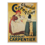 Chocolate Carpentier Vintage Hot Chocolate Ad Art Poster