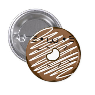 Chocolate Cat Donut Button Stretched