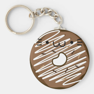 Chocolate Cat Donut Keychain Stretched